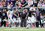 SIOUX FALLS, SD - OCTOBER 27: Gabriel Watson #33 from the University of Sioux Falls breaks loose for an 81 yard run past Isaac Barrett #11 from Upper Iowa during their game Saturday at Bob Young Field in Sioux Falls. (Photo by Dave Eggen/Inertia)