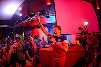 Recife, Brazil - Wednesday, June 25, 2014: Will Ferrell and Teddy Goalsevelt at the US Soccer fan HQ.