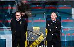 Stockholm 2014-03-21 Ishockey Kvalserien AIK - R&ouml;gle BK :  <br /> AIK:s tr&auml;nare Rikard Franz&eacute;n och AIK:s tr&auml;nare Mats B&auml;cklin ser fundersamma ut<br /> (Foto: Kenta J&ouml;nsson) Nyckelord:  fundersam fundera t&auml;nka analysera depp besviken besvikelse sorg ledsen deppig nedst&auml;md uppgiven sad disappointment disappointed dejected