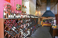 Wine shop. Restaurant Le Patio. Maugio, Languedoc, France.