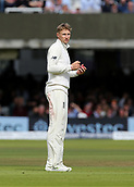 9th September 2017, Lords Cricket Ground, London, England; International test match series, third test, Day 3; England versus West Indies; England Captain Joe Root checks his fielders, as he prepares to bowl the last over before lunch