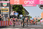 Cesare Benedetti (ITA) Bora-Hansgrohe crosses the finish line ahead of Damiano Caruso (ITA) Bahrain-Merida and Eddie Dunbar (IRL) Team Ineos of Stage 12 of the 2019 Giro d'Italia, running 158km from Cuneo to Pinerolo, Italy. 23rd May 2019<br /> Picture: Massimo Paolone/LaPresse | Cyclefile<br /> <br /> All photos usage must carry mandatory copyright credit (© Cyclefile | Massimo Paolone/LaPresse)