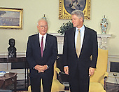 United States President Bill Clinton, right, meets Prime Minister Yitzhak Rabin of Israel, left, in the Oval Office of the White House in Washington, DC on November 21, 1994.<br /> Credit: Ron Sachs / CNP