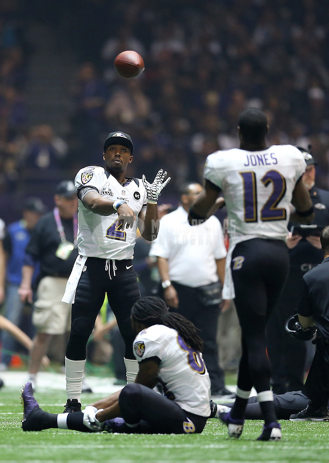 Feb 3, 2013; New Orleans, LA, USA; Baltimore Ravens quarterback Tyrod Taylor (2) warms up during the blackout against the San Francisco 49ers in Super Bowl XLVII at the Mercedes-Benz Superdome. Mandatory Credit: Mark J. Rebilas-