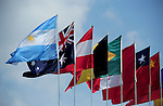 ST. PETERSBURG, FL - JUNE 18: General view of flags during the FIVB Beach Volleyball World Tour St. Petersburg Grand Slam presented by the AVP on June 18, 2015 at Spa Beach in St. Petersburg, Florida. (Photo by Donald Miralle for the AVP)