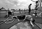 CARSON, CA - JULY 13:  Charles Kubacek of CrossFit Dallas Central collapses at the finish line at the end of the Sprint Relay and Big Bob Competition during the 2012 Crossfit Games on July 13, 2012 at the Home Depot Center in Carson, California. (Photo by Donald Miralle) *** Local Caption *** .