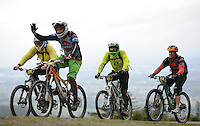 18th May 2014; Colin Snow, Brendan O'Hanlon, David Leiva and Michelle Muldoon. Gravity Enduro Mountain Biking Round 2, Ticknock Hill, Co Dublin. Picture credit: Tommy Grealy/actionshots.ie.