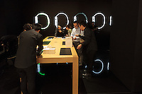 People shopping for Apple watches on its officail release at the Apple watch store inside Isetan Department store in Shinjuku,  Tokyo, Japan. Friday April 24th 2015. Apple's long anticipated  smart watch was officially put on sale in stores in just nine countries. Japan and Australia which are furthest east were the first places in the world where this watch was available for purchase.