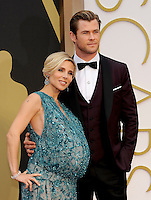 HOLLYWOOD, CA - MARCH 2: Elsa Pataky, Chris Hemsworth arriving to the 2014 Oscars at the Hollywood and Highland Center in Hollywood, California. March 2, 2014. Credit: SP1/Starlitepics. /NORTePHOTO