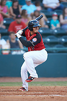 Yohel Pozo (3) of the Hickory Crawdads at bat against the Kannapolis Intimidators at L.P. Frans Stadium on July 20, 2018 in Hickory, North Carolina. The Crawdads defeated the Intimidators 4-1. (Brian Westerholt/Four Seam Images)
