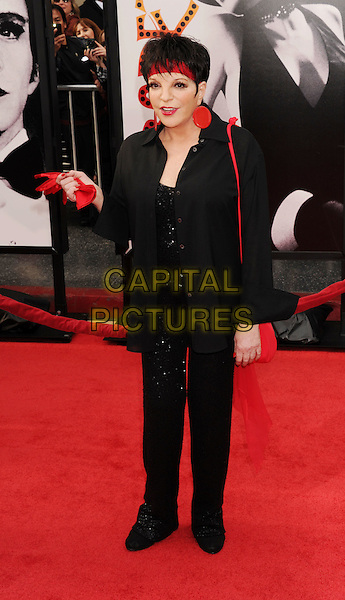 "Liza Minnelli.The World Premiere of the 40th Anniversary Restoration of ""Cabaret"" at Grauman's Chinese Theatre in Hollywood, California, USA..April 12th, 2012.full length black red circle disc earrings headband lipstick jacket trousers .CAP/ROT/TM.©Tony Michaels/Roth Stock/Capital Pictures"