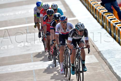 12.04.2015. Paris, France.  The Paris Roubaix cycling race, 2015.  Lampaert Yves of Etixx - Quick Step, Stybar Zdenek of Etixx - Quick Step, Degenkolb John of Giant - Alpecin, Van Avermaet Greg of BMC Racing Team and Boom Lars of Astana