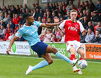 Fleetwood Town's Ashley Hunter is tackled by Accrington Stanley's Michael Ihiekwe<br /> <br /> Photographer Alex Dodd/CameraSport<br /> <br /> The EFL Sky Bet League One - Fleetwood Town v Accrington Stanley - Saturday 15th September 2018  - Highbury Stadium - Fleetwood<br /> <br /> World Copyright &copy; 2018 CameraSport. All rights reserved. 43 Linden Ave. Countesthorpe. Leicester. England. LE8 5PG - Tel: +44 (0) 116 277 4147 - admin@camerasport.com - www.camerasport.com
