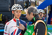 6th September 2017, Mansfield, England; OVO Energy Tour of Britain Cycling; Stage 4, Mansfield to Newark-On-Trent;  Adam Hartley of the Great Britain-GBR team gives an interview at Registration before the race starts