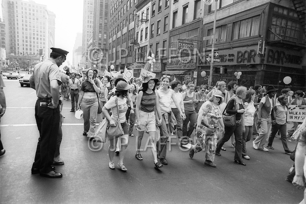 New York, NY - June 27, 1971<br /> Demonstrators march down 5th Avenue during the second Gay Pride Parade in New York City. Later the Gay Pride in New York City, will includes bisexual and transgender.