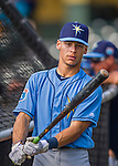 14 March 2016: Tampa Bay Rays infielder Andrew Velazquez, ranked the 29th Top Prospect in the Rays organization for 2016 by MLB, awaits his turn in the batting cage prior to a pre-season Spring Training game against the Atlanta Braves at Champion Stadium in the ESPN Wide World of Sports Complex in Kissimmee, Florida. The Ray fell to the Braves 5-0 in Grapefruit League play. Mandatory Credit: Ed Wolfstein Photo *** RAW (NEF) Image File Available ***