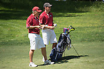 April 14, 2015; Ventura, CA, USA; Loyola Marymount Lions men's golf assistant coach  Mike Gaines (left) and golfer Connor Campbell (right) during the WCC Golf Championships at Saticoy Country Club.