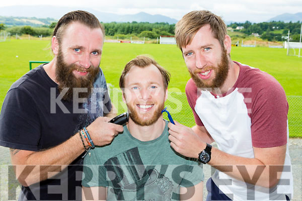 Kerry goalkeeper Brendan Kealy is hoping Danny Guerin and kevin Gorman right have a save pair of hands for the Charity shave in aid of the Donal Walsh foundation in the Kilcummin Klub bar next Sunday night