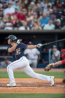 Toledo Mud Hens second baseman Omar Infante (49) follows through on his swing against the Louisville Bats during the International League baseball game on May 17, 2017 at Fifth Third Field in Toledo, Ohio. Toledo defeated Louisville 16-2. (Andrew Woolley/Four Seam Images)