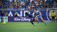 Orlando, FL - Saturday July 16, 2016: Jasmyne Spencer, Arin Gilliland during a regular season National Women's Soccer League (NWSL) match between the Orlando Pride and the Chicago Red Stars at Camping World Stadium.