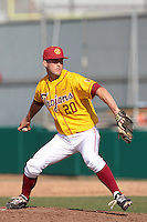 Nigel Nootbaar (20) of the USC Trojans pitches against the Jacksonville Dolphins at Dedeaux Field on February 19, 2012 in Los Angeles,California. USC defeated Jacksonville 4-3.(Larry Goren/Four Seam Images)