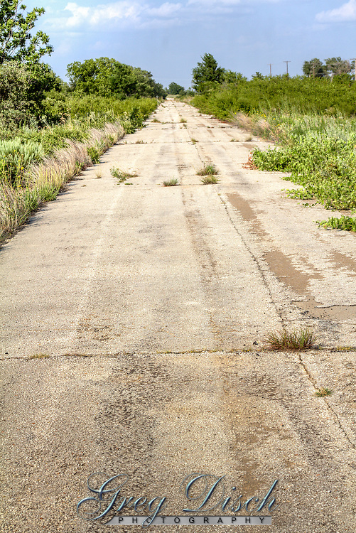 Abandoned sections of old Route 66 near the ghost town of Hext Oklahoma.