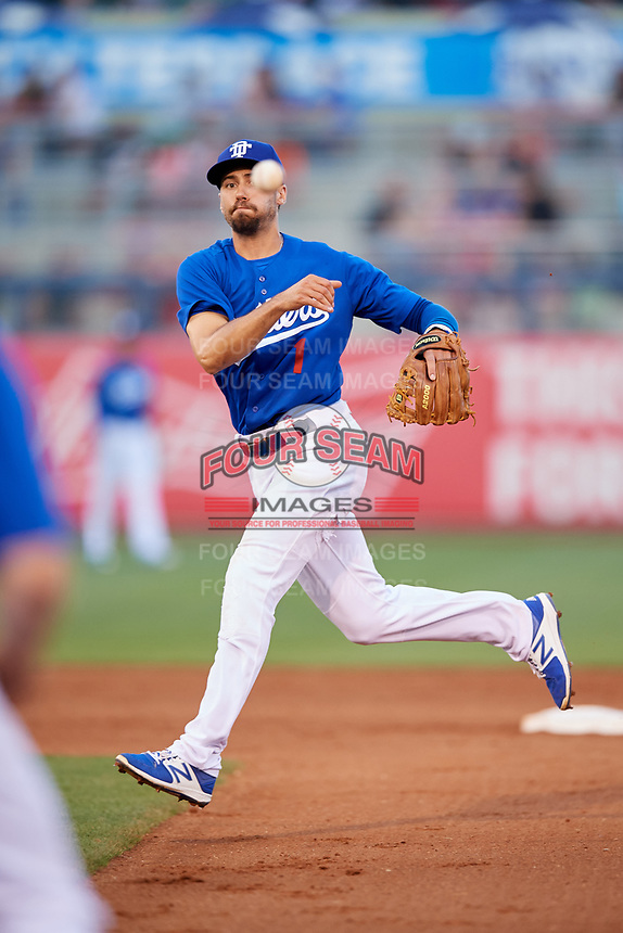 Tulsa Drillers second baseman Michael Ahmed (1) throws to first base during a game against the Corpus Christi Hooks on June 3, 2017 at ONEOK Field in Tulsa, Oklahoma.  Corpus Christi defeated Tulsa 5-3.  (Mike Janes/Four Seam Images)