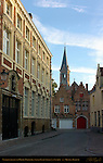 Street Scene: Naaldenstraat and Heilig-Hartkerk Sacred Heart Church at Sunrise, Bruges, Brugge, Belgium