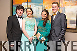 Diarmuid Moriarty Muireann O'Mahony, Ashling Dwyer, Dylan Fitzgerald.  enjoying  the Gaelcholáiste Chiarraí Students' Debs Ball on Monday in the Ballyroe Heights Hotel