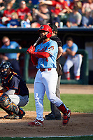 Peoria Chiefs catcher Ivan Herrera (4) during a Midwest League game against the Bowling Green Hot Rods at Dozer Park on May 5, 2019 in Peoria, Illinois. Peoria defeated Bowling Green 11-3. (Zachary Lucy/Four Seam Images)
