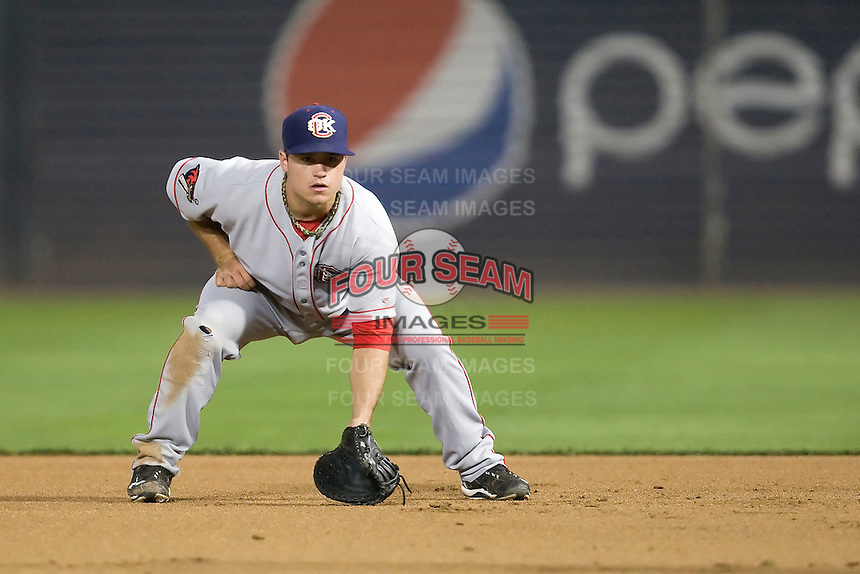 Firstbaseman Koby Clemens #21 of the Oklahoma City RedHawks against the Round Rock Express on April 26, 2011 at the Dell Diamond in Round Rock, Texas. (Photo by Andrew Woolley / Four Seam Images)