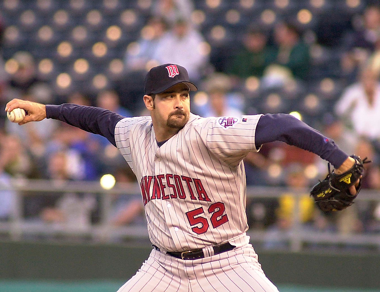 Twins right handed pitcher Tony Fiore pitches in the fourth inning against the Royals at Kauffman Stadium in Kansas City, Missouri on May 13, 2002.  Minnesota won 3-2.