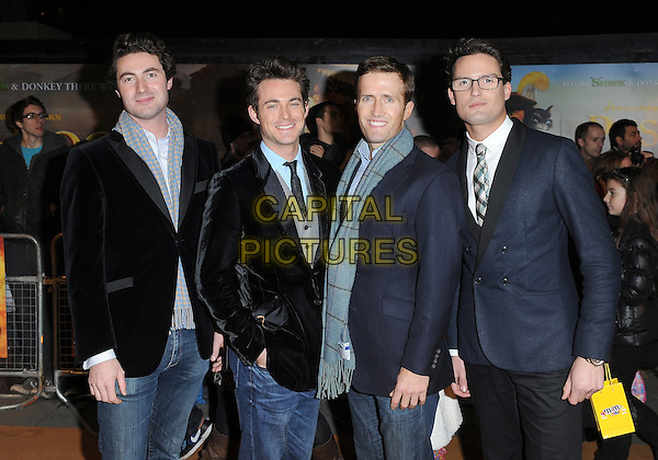 Blake.'Puss In Boots 3D' UK Premiere, Empire Leicester Square, London, England..24th November 2011.half length black blue grey gray scarf suit jacket velvet  Stephen Bowman Jules Knight Humphrey Berney Ollie Baines band group.CAP/BEL.©Tom Belcher/Capital Pictures.