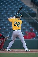 AZL Athletics center fielder Chase Calabuig (28) at bat during an Arizona League game against the AZL Angels at Tempe Diablo Stadium on June 26, 2018 in Tempe, Arizona. The AZL Athletics defeated the AZL Angels 7-1. (Zachary Lucy/Four Seam Images)