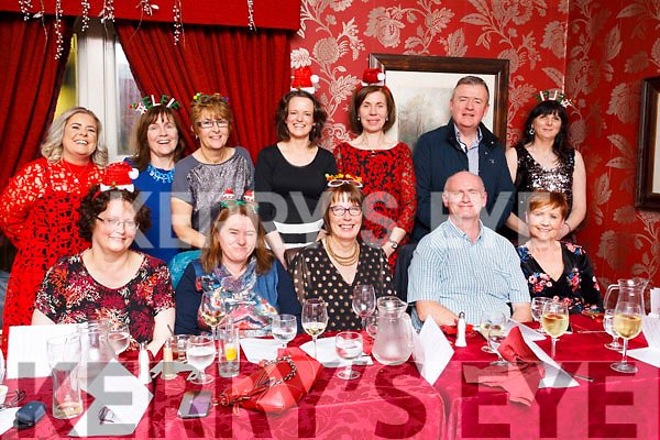 Staff from Kerry University Hospital enjoying their  Xmas celebrations in the Brogue Inn, Tralee on friday last.<br /> Seated Marion O'Connor, Mary O'Leary, Joan Harmon, Joe O'Sullivan, Marie O'Sullivan. Standing, Karen Fennix, Ann Nolan, Mary Collins, Sally Ann Walsh, Eileen Cullanane, Jimmy Adams and Ger Clifford.