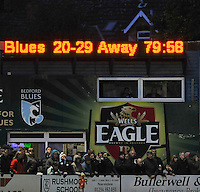 Bedford, England.Final score at The Championship Bedford Blues vs Newcastle Falcons at Goldington Road  Bedford, England on November 3, 2012