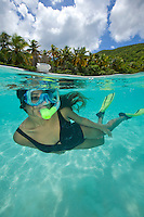 Split level view of a snorkeler<br />