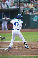 Ogden Raptors center fielder James Outman (47) at bat during a Pioneer League game against the Great Falls Voyagers at Lindquist Field on August 23, 2018 in Ogden, Utah. The Ogden Raptors defeated the Great Falls Voyagers by a score of 8-7. (Zachary Lucy/Four Seam Images)