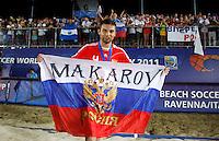 RAVENNA, ITALIA, 11 DE SETEMBRO DE 2011 - COPA DO MUNDO BEACH SOCCER - Makarov jogador da Russia comemora a conquista da Copa do Mundo de Beach Soccer, no Stadium Del Mare em Ravenna na Italia, neste domingo (11). (FOTO: WILLIAM VOLCOV - NEWS FREE).