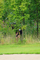 Richelle O'Neill (Tullamore) in the rough on the 1st during the Final round of the Irish Mixed Foursomes Leinster Final at Millicent Golf Club, Clane, Co. Kildare. 06/08/2017<br /> Picture: Golffile | Thos Caffrey<br /> <br /> <br /> All photo usage must carry mandatory copyright credit      (&copy; Golffile | Thos Caffrey)