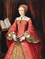 """Princess Elizabeth of England at the age of 13 years - c. 1546<br /> Medium <br /> English: Oil on oak panel<br /> Dimensions <br /> <br /> 3' 6 3/4"""" x 2' 8 1/4""""<br /> Current location <br /> <br /> The Royal Collection, Windsor Castle- Daughter of King Henry VIII of England and his second wife, Anne Boleyn, Elizabeth I ascended the throne of England on the death of her sister Mary. She reigned from 1558-1603.-"""