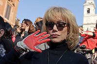 Roma 14 Febbraio 2013.One Billion Rising.Flash mob mondiale One Billion Rising, Hands off Women, contro la violenza sulle donne, a Trinità dei Monti. L'attrice Nancy Brilli