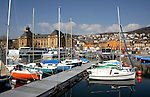 Boats moored in the marina of the Neuchatel  harbour with the museum-postoffice, circus tent and hotels in the background. Lake Neuchatel , Switzerland.