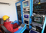 "CALAIS - FRANCE - 20 May 2015 -- In October 2015 the French ship ""Ile de Brehat"" will start laying a 1200 km long subsea optical cable from Helsinki to Rostock Germany. - The remote control room of the submarine robot. -- PHOTO: Juha ROININEN / EUP-IMAGES"