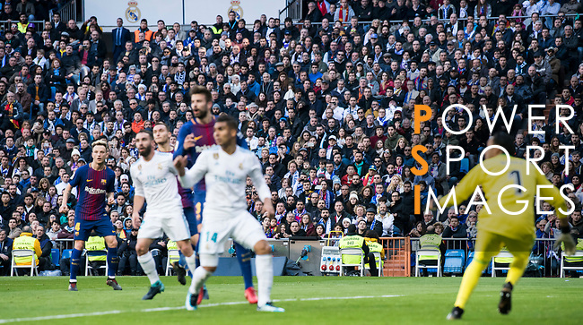 Soccer fans watch on during the La Liga 2017-18 match between Real Madrid and FC Barcelona at Santiago Bernabeu Stadium on December 23 2017 in Madrid, Spain. Photo by Diego Gonzalez / Power Sport Images