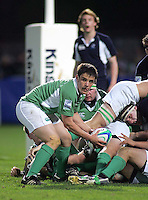 Ireland's Harry McAleese gets the ball away during the Division A clash in the U19 World Championship at Ravenhill.