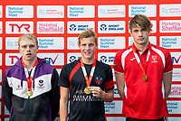 Picture by Allan McKenzie/SWpix.com - 05/08/2017 - Swimming - Swim England National Summer Meet 2017 - Ponds Forge International Sports Centre, Sheffield, England - Nathan Wells, Ben Harrison & Daniel Chada take gold in the Mens 18yrs and over, 17yrs and 16yrs 100m Backstroke finals respectively.