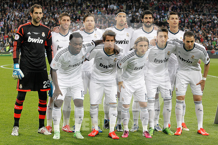 Real Madrid's team photo with Diego Lopez, Sergio Ramos, Xabi Alonso, Sami Khedira, Raul Albiol, Cristiano Ronaldo, Michael Essien, Fabio Coentrao, Luka Modric, Mesut Ozil and Karim Benzema during spanish KIng's Cup Final match.May 17,2013. (ALTERPHOTOS/Acero)