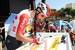 Thomas De Gendt (BEL) Lotto-Soudal at sign on before the start of Stage 2 of La Vuelta 2019 running 199.6km from Benidorm to Calpe, Spain. 25th August 2019.<br /> Picture: Luis Angel Gomez/Photogomezsport | Cyclefile<br /> <br /> All photos usage must carry mandatory copyright credit (© Cyclefile | Luis Angel Gomez/Photogomezsport)