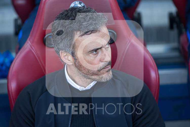 Luis Enrique Martinez coach  of Futbol Club Barcelona during the match of Spanish La Liga between Atletico de Madrid and Futbol Club Barcelona at Vicente Calderon Stadium in Madrid, Spain. February 26, 2017. (Rodrigo Jimenez / ALTERPHOTOS)